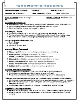 Teacher Observation Feedback Form