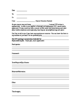 Teacher Observation Form for IEP Meetings