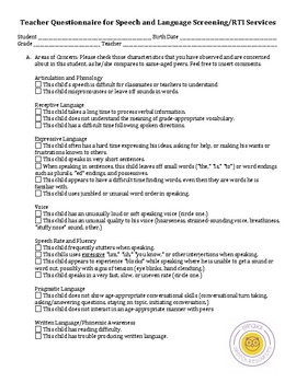 Teacher Observation Form for Speech and Language Screening/RTI