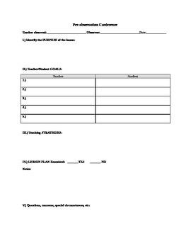 Teacher Observation Packet
