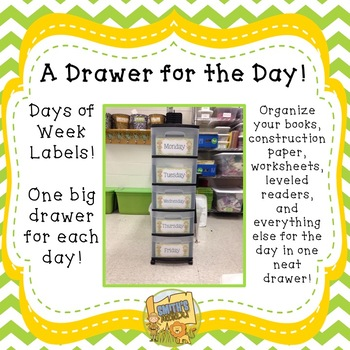 Teacher Organization!  A Drawer for the Day!  Get your mat