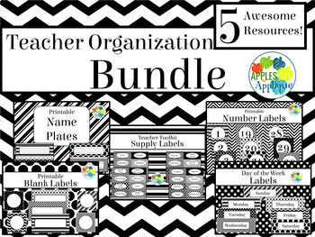 Teacher Organization BUNDLE in Black and White Theme