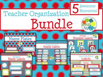 Teacher Organization BUNDLE in Primary Color Theme