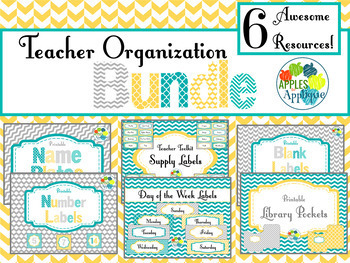 Teacher Organization BUNDLE in Yellow, Teal, and Gray
