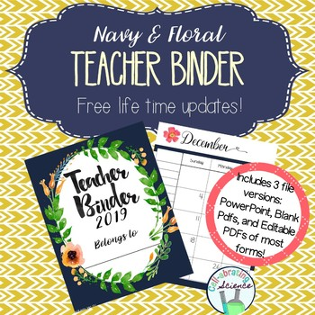 Teacher Organization Binder 2018 (Jan-Dec)-- Navy and Floral Teacher Planner