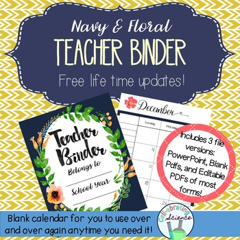 Teacher Organization Binder (Blank Calendars) -- Navy and Floral Teacher Planner