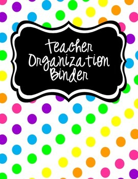 Teacher Organization Binder Cover, Spine Label & Cover Inserts