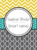 Teacher Binder Inserts-- gray & yellow