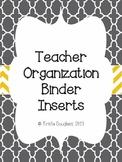 Teacher Binder Inserts-- gray & yellow