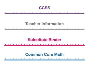 Teacher Organization- Binder Spines