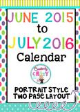 Calendar for Organization June 2015 to July 2016