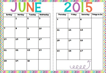 Calendar for Organization June 2015 to July 2016