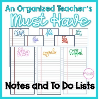 Teacher Organization Must Have: Notes and To Do Lists