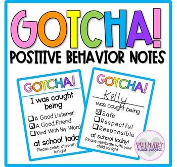 Positive Behavior Notes   Classroom Management Tool