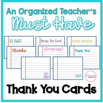 Teacher Organization Must Have: Thank You Cards | Thank You Notes
