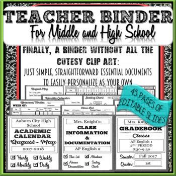 Teacher Organization Planning Binder: Seating Chart, Gradebook, Attendance, Etc.