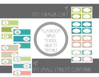Sterilite Drawer Labels- Cactus- Editable!