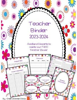 Teacher Organizational Binder 2017-2018 Flower Design