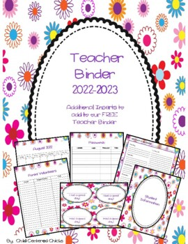 Teacher Organizational Binder 2016-2017 Flower Design