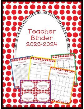 Teacher Organizational Binder 2017-2018 Red Polk a Dot