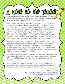 Teacher Organizational Binder Covers