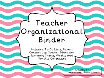 Teacher Organizational Binder-Wavy