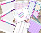 Teacher Organizing Packet - Attendance, Planner, File Tabs