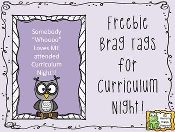 Curriculum Night Brag Tags