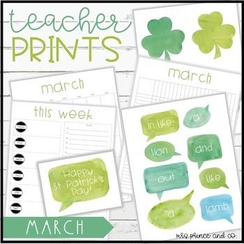 Teacher PRINTS March {teacher stationary and printables}