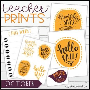 Teacher PRINTS October {teacher stationary and printables}