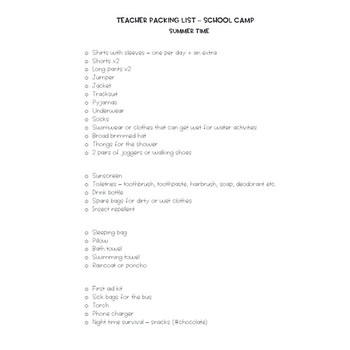 Teacher Packing List - School Camp FREE DOWNLOAD