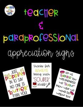 Teacher & Paraprofessional Appreciation Signs