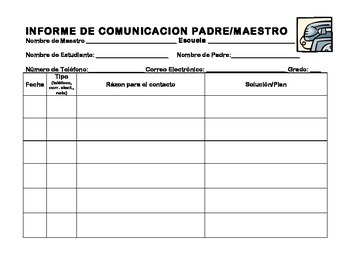 Teacher-Parent Communication Log Bilingual Spanish-English
