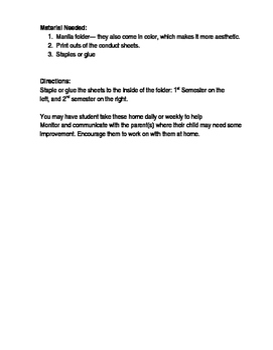 Teacher Parent Conduct Daily Report Sheet.
