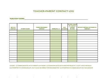 Teacher-Parent Contact Log (Olive)