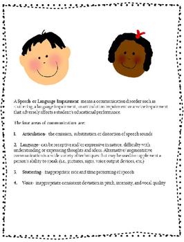 Teacher/ Parent Information for Communication Concerns