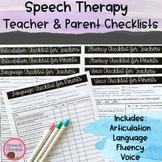 Speech Therapy Observation | Checklists | Teacher | Parent