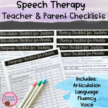 Teacher & Parent Observation Checklists for Speech Therapy