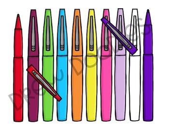 Teacher Pens Digital Clip Art Set FREEBIE