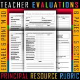 Teacher Performance Evaluation EDITABLE Grayscale Principa