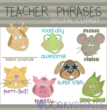 Teacher Phrases Digital Clip Art Images