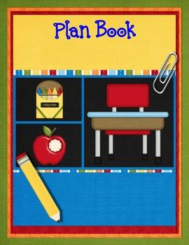 Teacher Plan Book Cover-Orange, Red, Blue, Green & Yellow