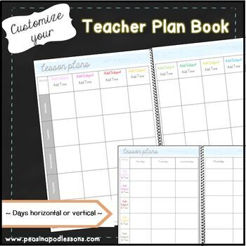 Plan Book ~ Editable Planner for Weekly Lesson Plan Templates by ...