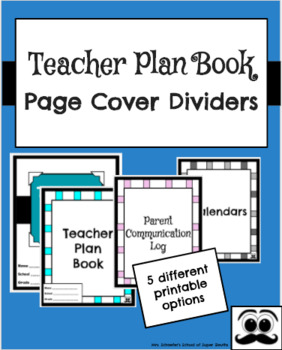Printable Teacher Plan Book Page Cover Dividers