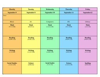 Teacher Plan Book Template