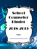 School Counselor Binder Set with Calendar - Musical Notes Design (Editable)