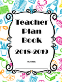 Teacher Plan Book and Calendar - Blue School Pattern (Editable)