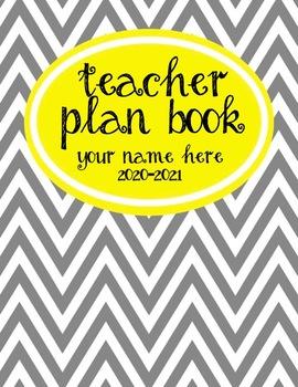 Teacher Plan Book 2016-2017 in Yellow and Grey Theme; Fully customizable