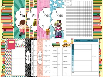 Teacher Plan & Grade Book Library / Reading Themed!