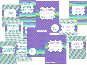 Teacher Planner: 2016-2017 Purple and Teal Chevron Style